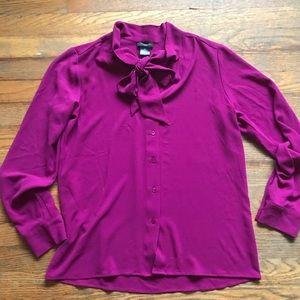 Ann Taylor- bow tie blouse / fuchsia